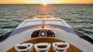 Sunset at the helm of Predator Sunseeker for Sale